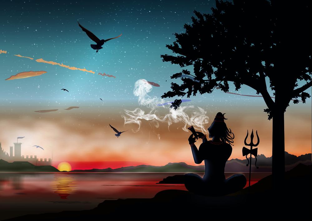 Bhagwan Shri Shiv sankar smoking Bhang HD 3D Wallpapers For Maha Shivratri